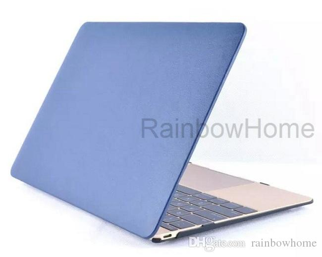 PU Läder Skin + Plastfodral Skyddsskal för MacBook Air Pro Retina 11 12 13 15 tum Protector Fodral
