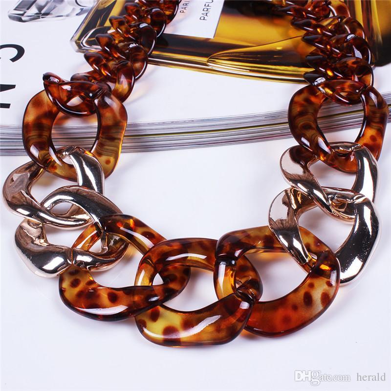 Statement Halskette Kette Choker Harz Halskette Big Leopard Kette Halskette Mode Übertreibung Schmuck Bar Frauen HD-141