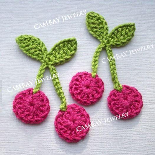 Wool Applique Handmade Flat Cherry Crocheted Flowers Patches