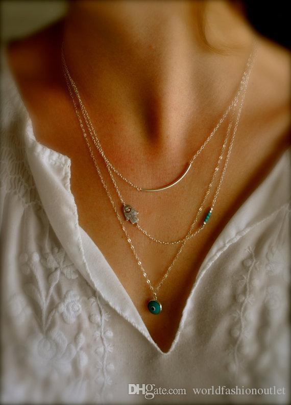Vintage Boho Hamsa Fatima Hand Evil Eye Bead Turquoise 3 Layers Chain Fashion Gold Plated Pendant Necklaces Jewelry bohemian Charm Jewellry