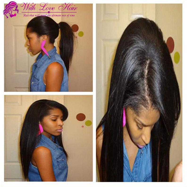 Withlovehair brazylijski peruwiański malezyjski koronki przednie ludzkie włosy peruki prostych włosów Bezklejone pełne koronki peruki dla czarnych kobiet