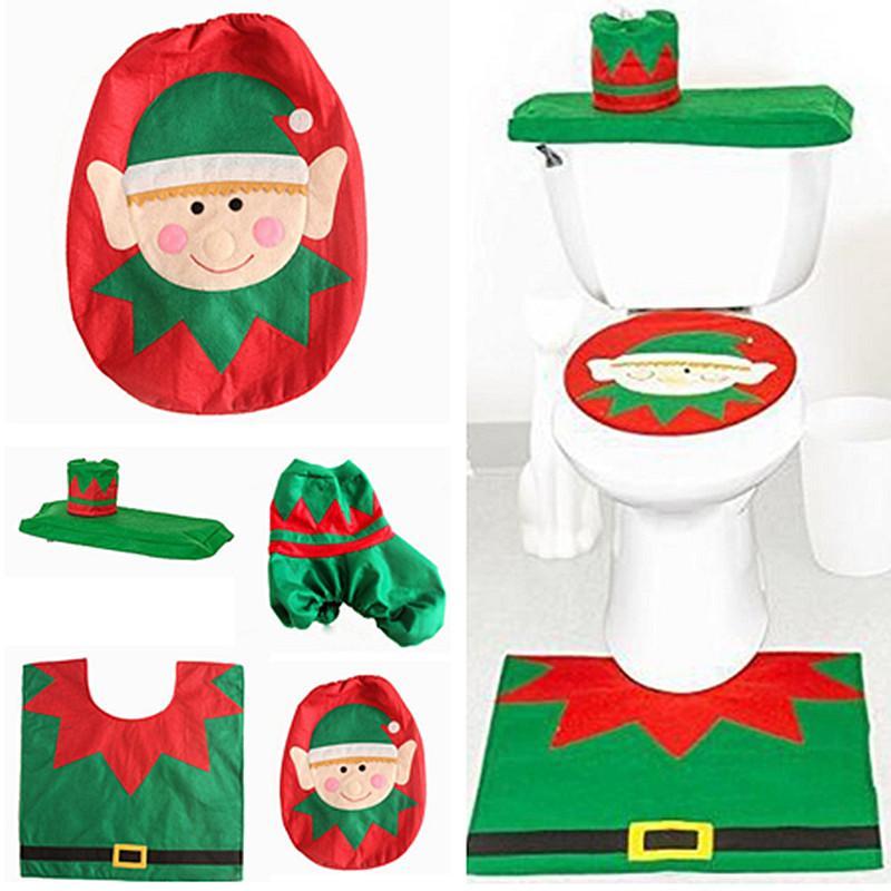 Xmas Santa Elf Toilet Seat Cover Rug Bathroom Set Christmas Supplies Decorations Ornament For Home