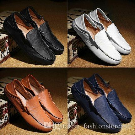 5dd1ee8dda6 Elegant Stylish Quality Leather Slip On Casual Shoes Mens Loafers Driving  Moccasins Flats British Style Hand Sewing Comfortable Hot Sale New Shoes  For Sale ...