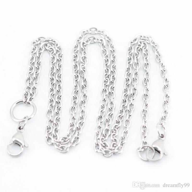 """Fashion Chain 0.8mm 3mm Width 24"""" 30'' Stainless Steel flat cable Necklace Chain For memory living Glass Locket & oil Diffuser Locket"""