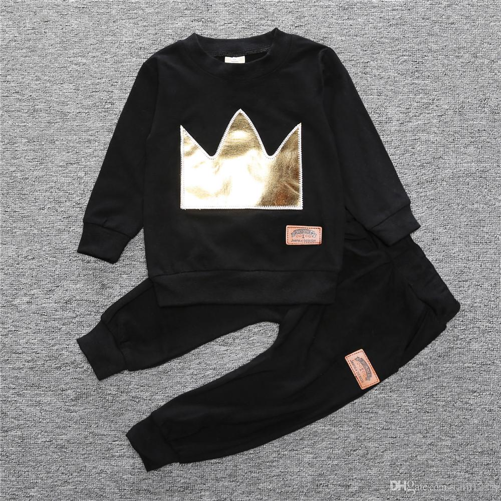 Baby Spring Autumn Clothing Sets Babies Black Crown Applique Long Jumper Tops Pants Outfits Infants Toddlers Cotton Tees Trousers Suits