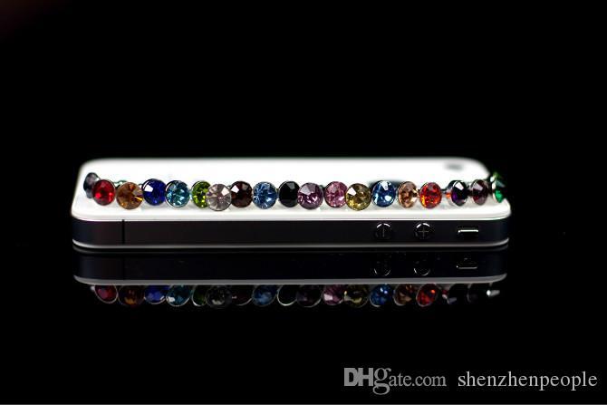 Luxury Phone Accessories Small Diamond Rhinestone 3.5mm Dust Plug Earphone Plug For Iphone & Ipad & Samsung& HTC