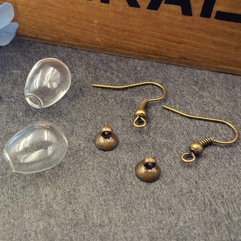 10 takım / grup  14.5 * 11mm temizle boş cam küre topu ile küpe bulgular moda kadın küpe takı bulgular arz dilek şişesi
