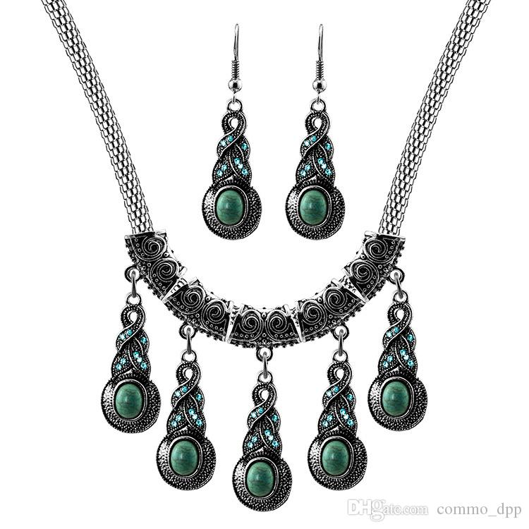 Mode ethnique style déclaration colliers boucles d'oreilles ensemble Turquoise femmes collier boucles d'oreilles bijoux ensembles pour homard fermoir bijoux