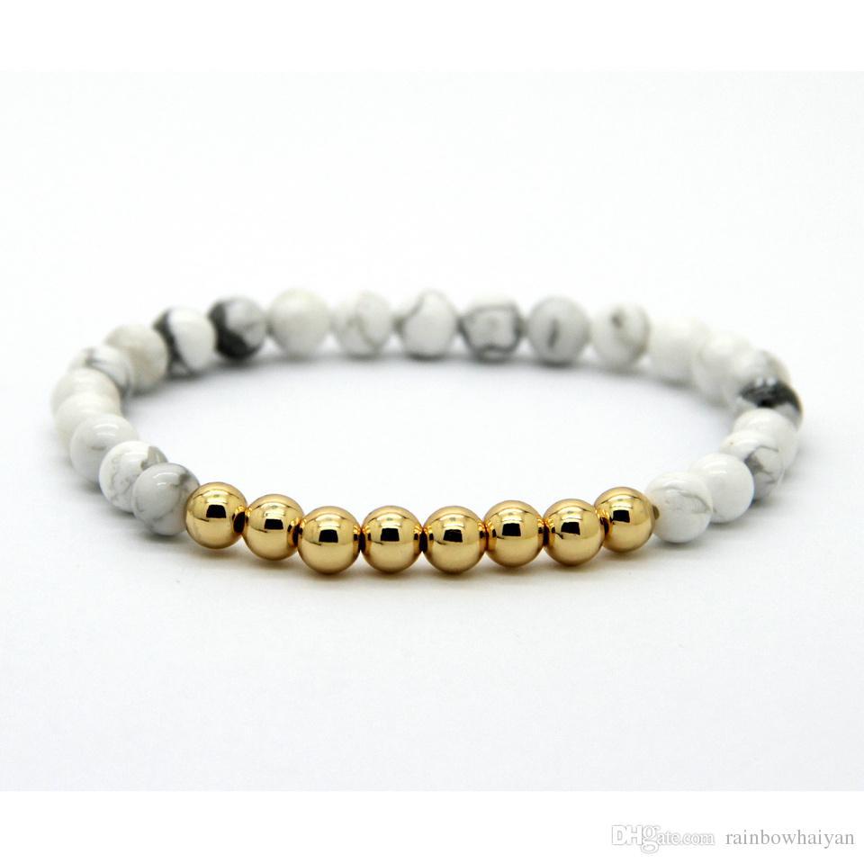حار بيع 6MM مجوهرات الخرز الحجر الطبيعي مع الذهب الحقيقي مطلي جولة النحاس الخرز أساور