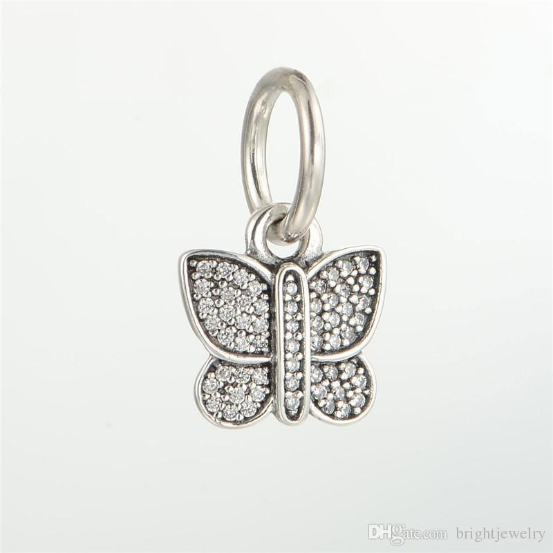 Fits pandora Charms Bracelet 925 Sterling Silver Bead Sparking Butterfly Dangle Charm With Zircon Women DIY Beads For Jewelry