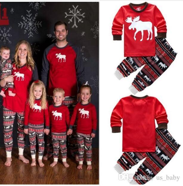 133d98b304 Family Xmas Autumn Winter Pajamas Women Men Adult Warm Sleepwear Santa Deer  Christmas Print Sleepwear Set Striped Cotton Outfits One Direction Pajamas  For ...