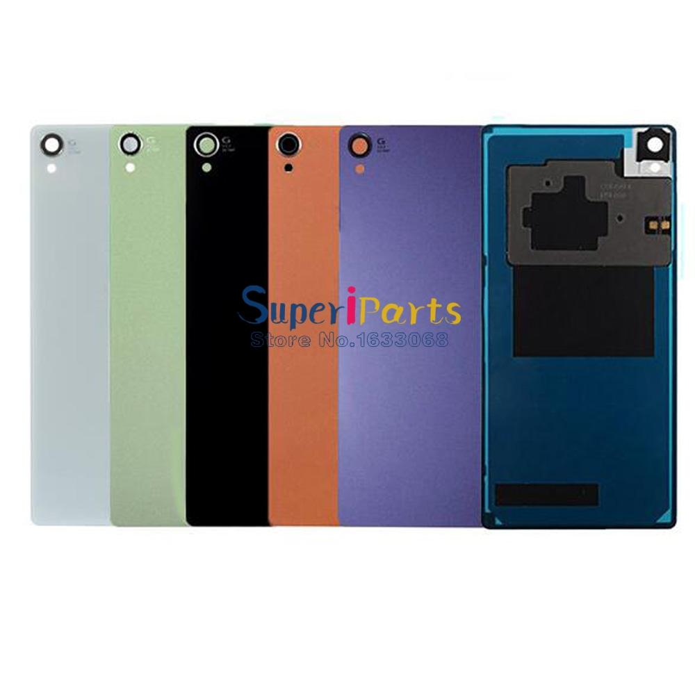 new product 68901 2f94b For Sony Xperia Z3 Back Glass Z3 L55 Original Back Cover Battery Door Cover  Housing Black White Green Gold Track