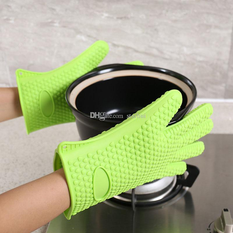 New Silicone BBQ Gloves Anti Slip Heat Resistant Microwave Oven Pot Baking Cooking Kitchen Tool Five Fingers Gloves WX9-11