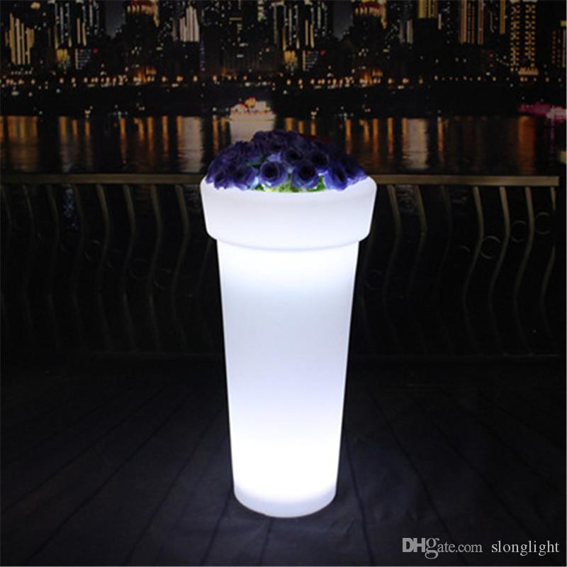 Waterproof rechargeable battery multi-color changing led plant pot remote control plastic led flower pot outdoor illuminated garden pots