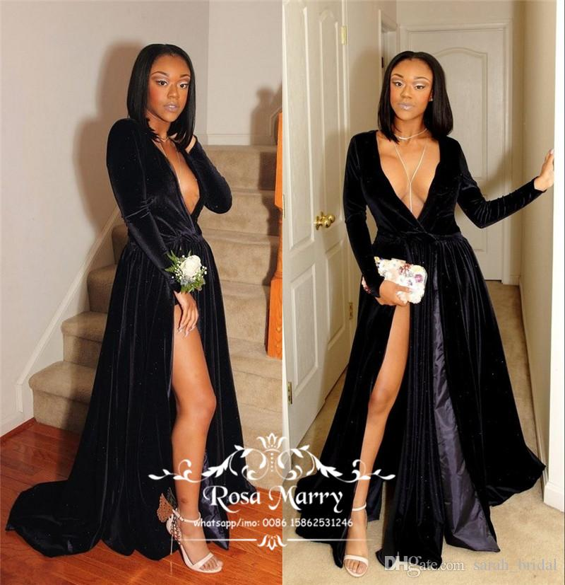 Gothic Black Velvet African Prom Dresses 2K17 A Line Deep V Neck Long  Sleeves Split Plus Size Black Girls Cheap Formal Evening Party Gowns Baby  Blue Prom ... 69a5aa8c3c75