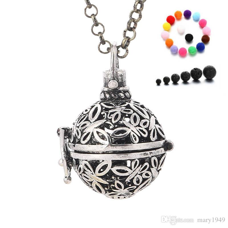 Aromatherapy Diffuser Necklaces Hollow Out Butterfly Essential Oils Diffuser Necklace with Lava Stone Felt Ball Fashion Jewelry