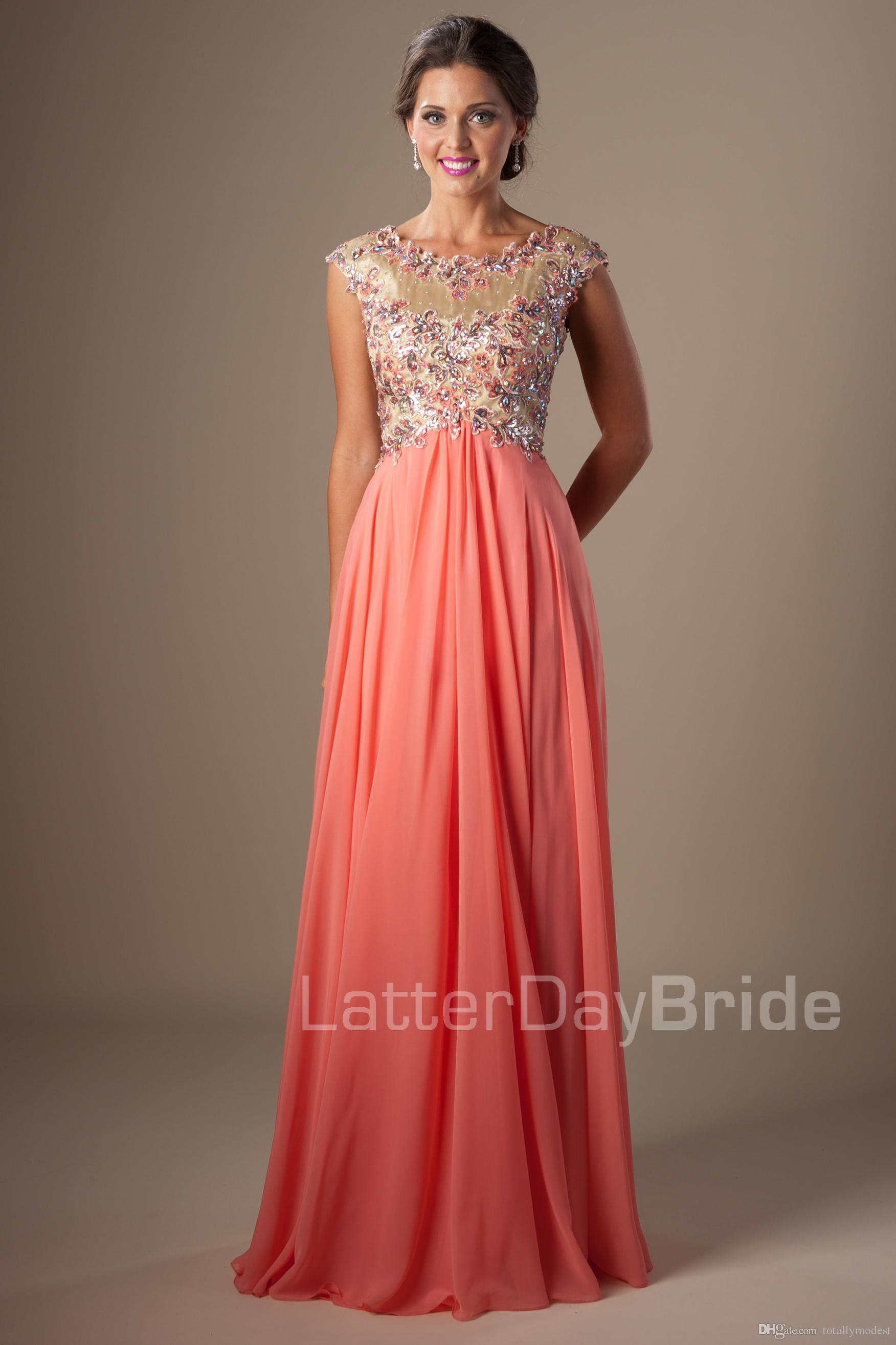 Coral Chiffon Modest Prom Dresses With Cap Sleeves A Line Beaded ...