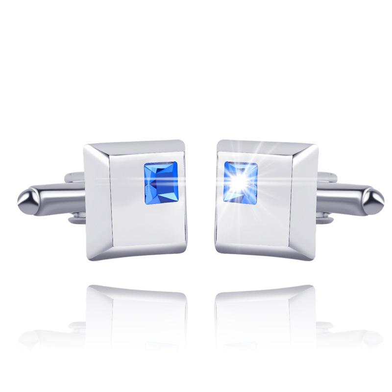 Blue Crystal Square Cufflink Cuff Links Collar Pins for women men Dress suit alloy Cufflinks Best Friend Christmas gift DROP SHIP 170636