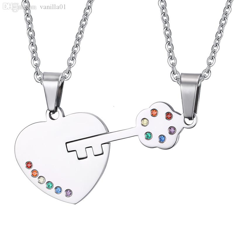key and couple pin necklaces gold pendant lock love