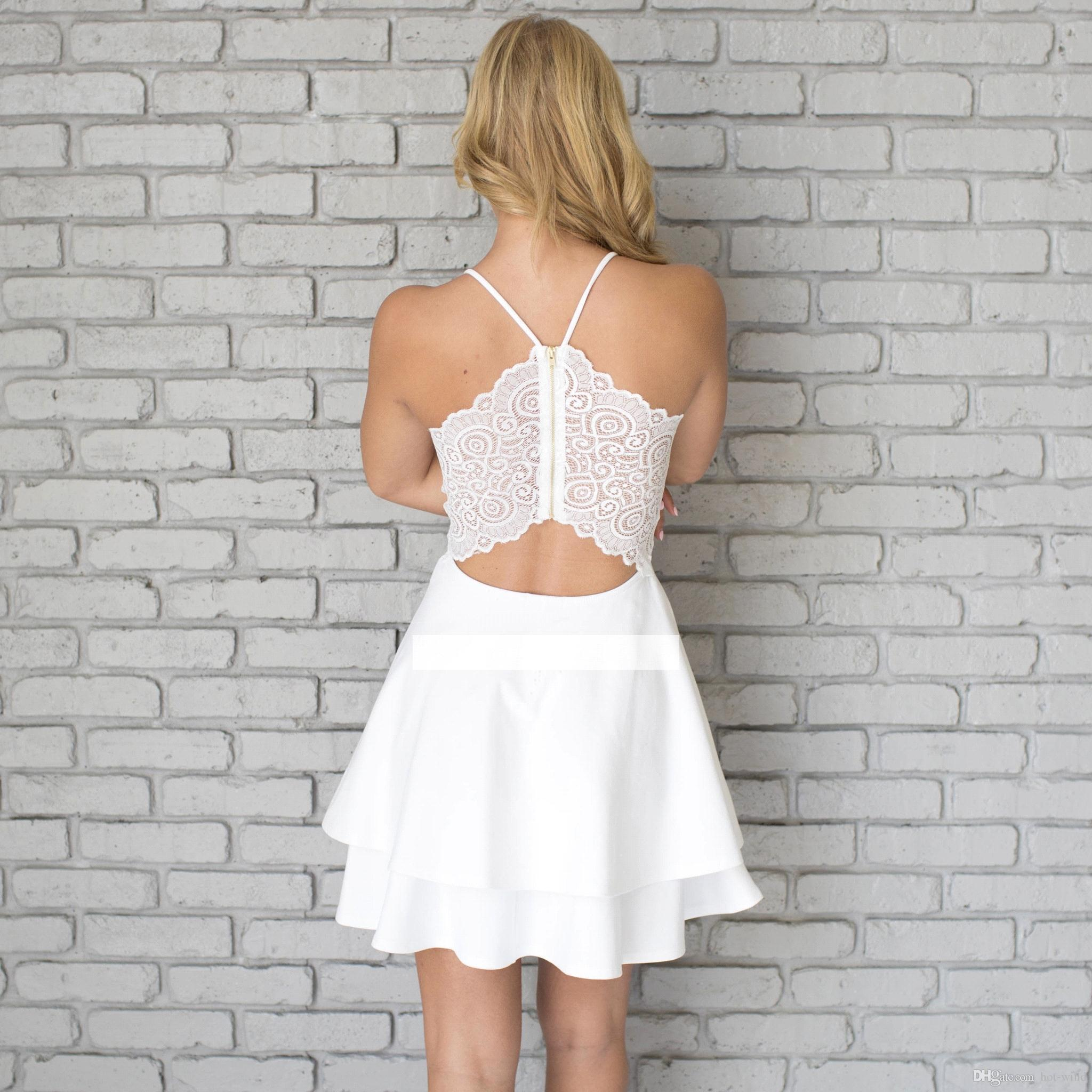 Little White Short Homecoming Dresses 2018 New Spaghetti Straps Zipper Back Lace Cocktail Party Dresses Short Prom Gowns Robe De Soiree