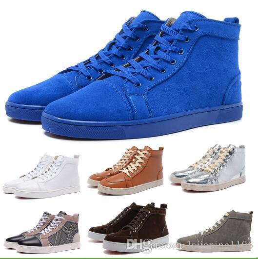 2d8246b63aad Cheap Red Bottoms Sneakers Mens Casual Shoes Women High Cut Designer  Loafers Flats Black Suede Leahter Man Authentic Luxury Fashion Shoe Running Shoes  Shoes ...