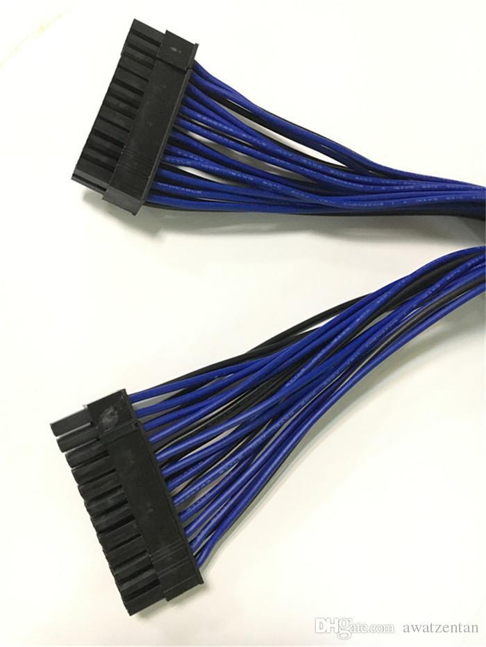 ATX 30cm 24 Pin Dual-Netzteil Verlängerungskabel Synchronkabel für Computerkabelanschluss für Bergbau 24Pin 20 + 4pin