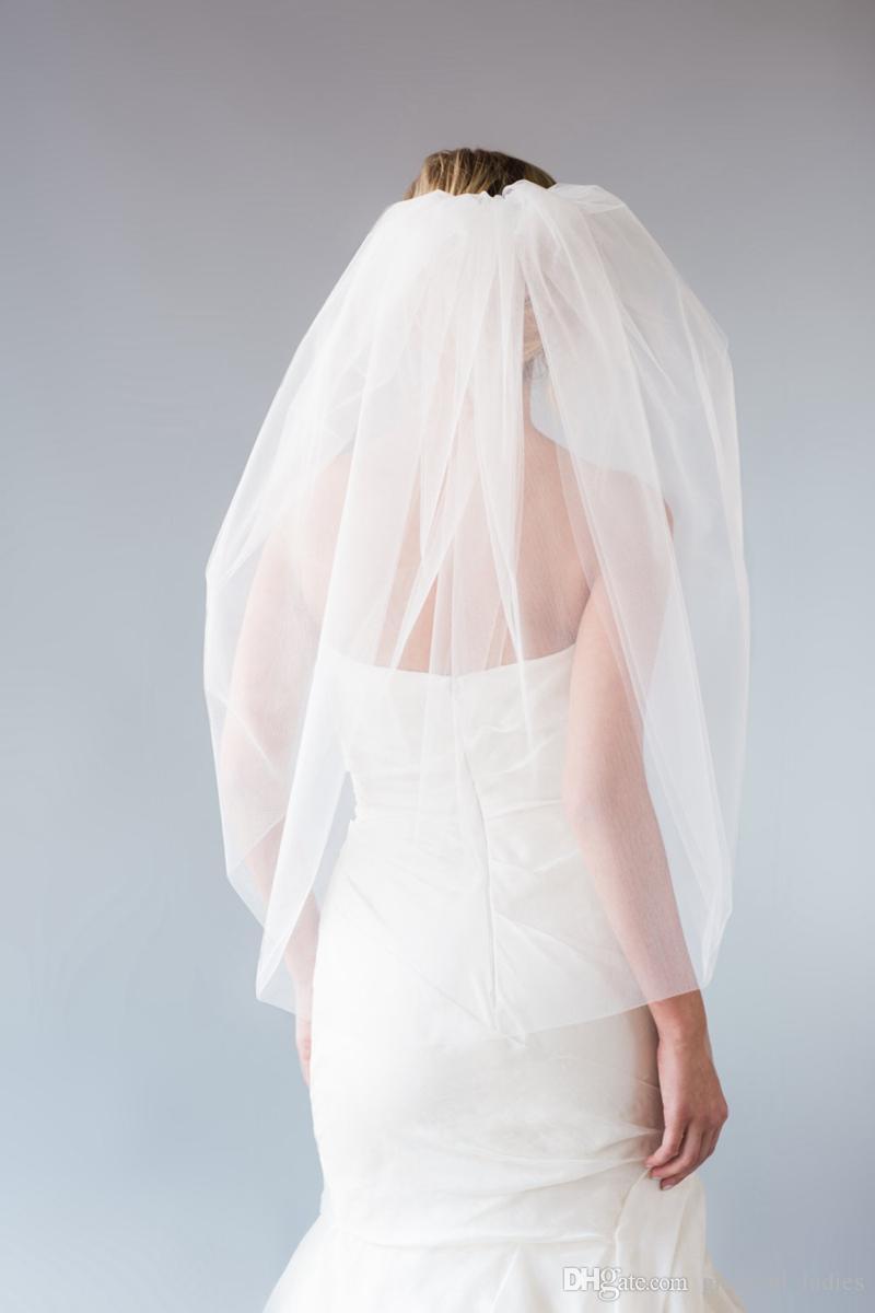 Çift Katmanlı Kabarcık Peçe Düğün Yumuşak Gelin Illusion Tül Ham Kesim Yuvarlak Dirsek Uzunluğu Ile Yuvarlak Dirsek Uzunluğu Gelin Peçe Ile Metal Tarak Özel