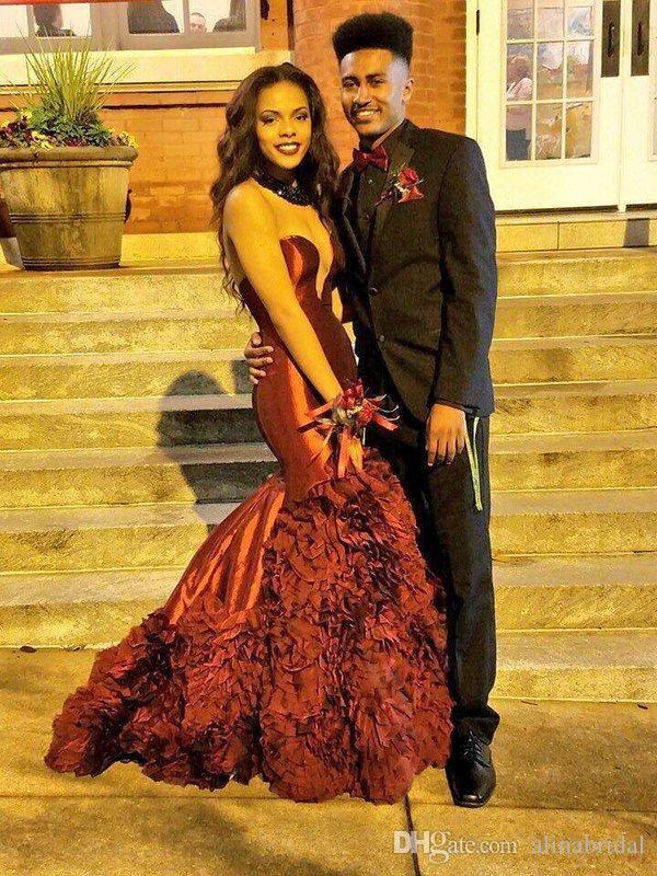Sirena burdeos vestidos de fiesta 2016 elegante tafetán Árabe novia del amor Corsé en cascada de volantes Sexy negro niña Prom vestido de noche