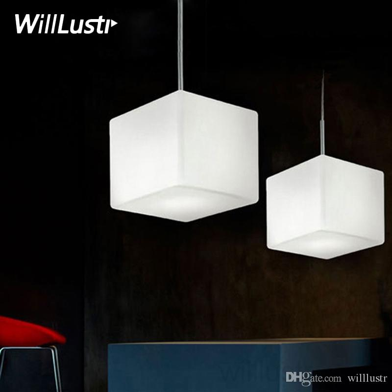 Willlustr Itre Cubi Pendant Lamp Suspension Light Italy Ufficio Stile lighting white cubic frosted glass dinning room restaurant hotel cafe