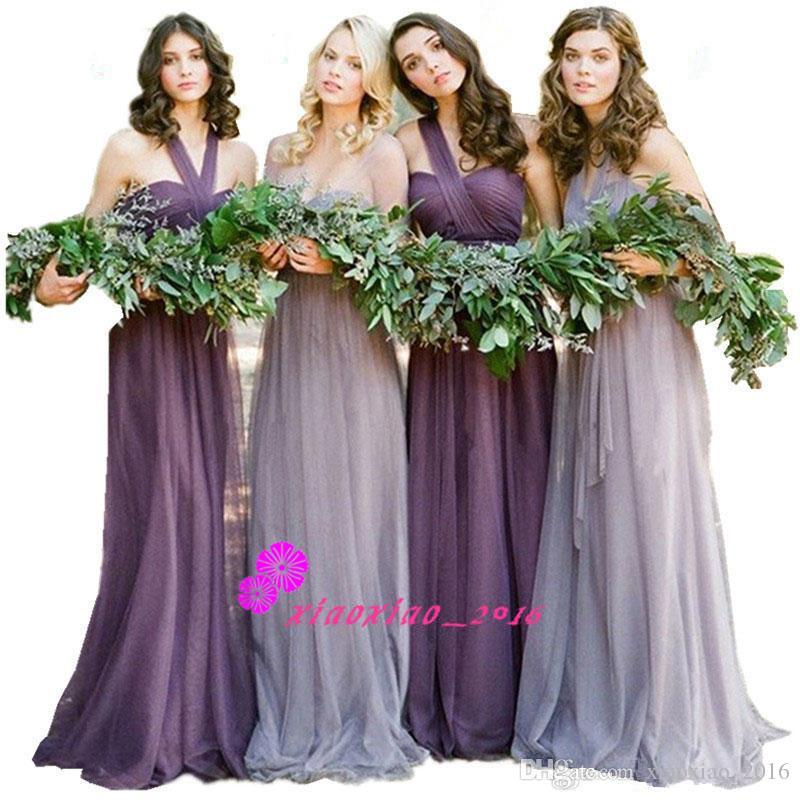 Encantador Vestido De La Dama De Honor Púrpura Larga Ideas Ornamento ...