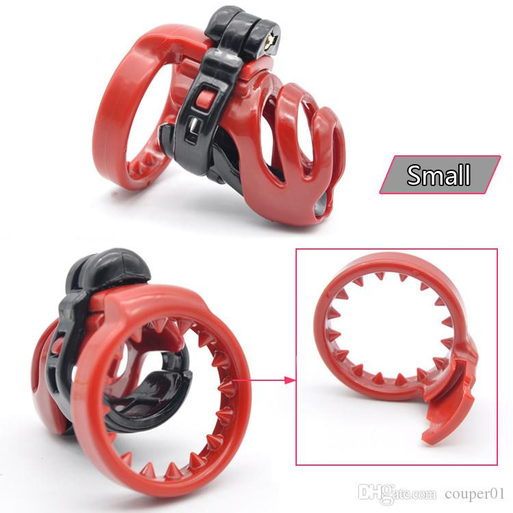 New Resin Small Male Chastity Device Male Penis Lock Cage Adult Bondage Cock Cage With 4 Size Cock Ring Chastity Belt Sex Toys For Men CP114