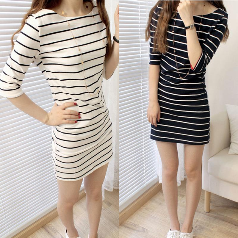 2f13770f1883 2019 Dress Long Section T Shirt Female Wholesale Summer Stripes Tight  Korean Version Of The Short Sleeved Large Size Student Dress Skirt Tide  From Mizon568