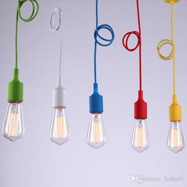 Pendant Lights E27 Holder 220V 110V Modern Loft Vintage Lamp Chandelier colgantes Lampada Multi Colors for Kitchen Restaurant Lighting Bulbs