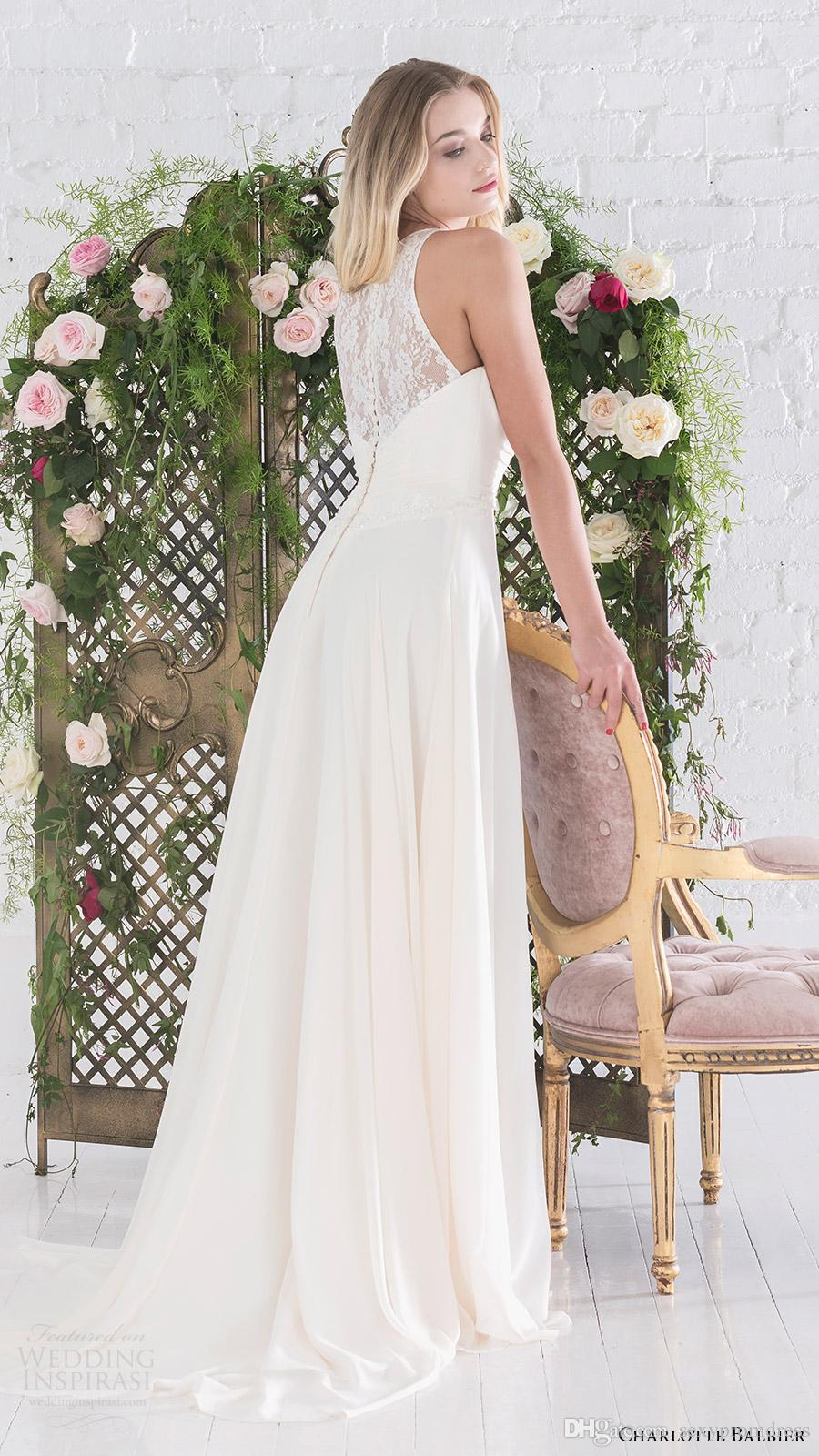 Simple Design Halter Beach Wedding Dresses 2016 Lace Sheer Neck Chiffon A Line Bridal Gowns Back Covered Buttons Floor Length Wedding Gowns