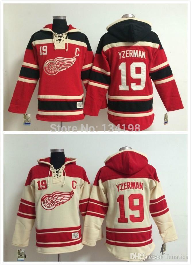 b6429edd717 2019 2016  19 Steve Yzerman Old Time Detroit Red Wings Hockey Hoodie Jersey  Sweatshirt Jerseys