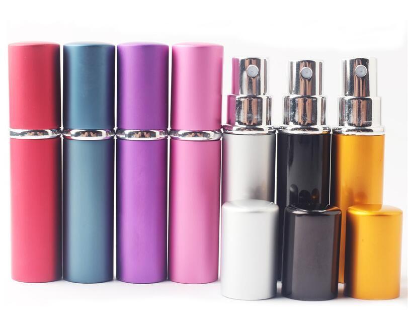 5 ml Mini Spray botella de perfume de viaje recargable vacío botella de perfume del envase cosmético botellas del atomizador de aluminio rellenables