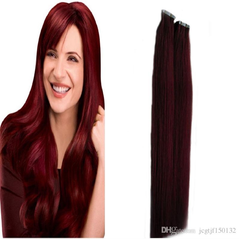 Color 99j red wine tape in hair extensions human hair extensions 10 pmusecretfo Choice Image