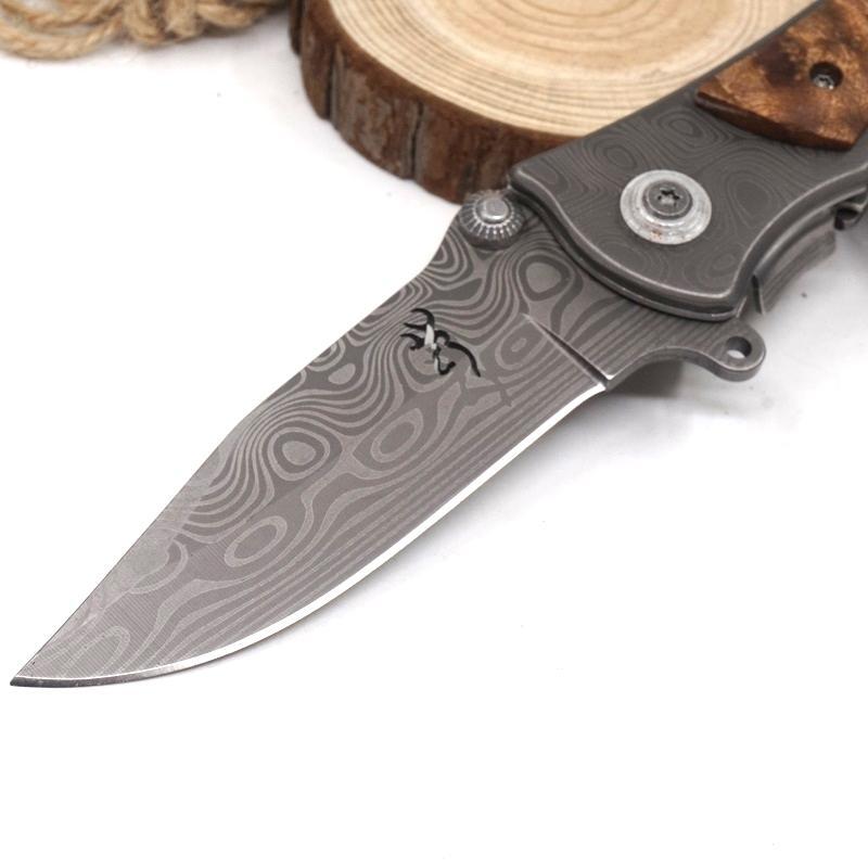 Brown 339 Taktisches Überlebensmesser Klappmesser Messer Gehärtet 440C 56HRC Taschenjagdmesser Holzgriff Outdoor Multi Werkzeug