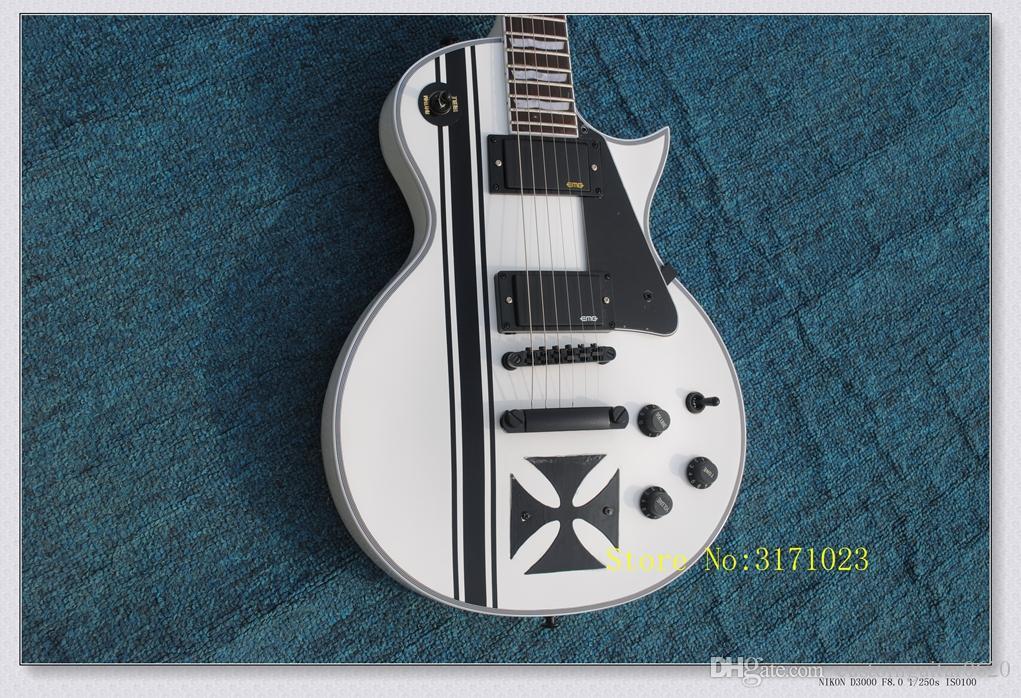 Custom Shop James Hetfield Cross guitarra elétrica SW branco e preto guitarras da china