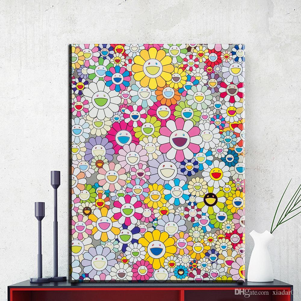ZZ1856 현대 미술 회화 무라카미 다카시 태양 유화 장식 벽 예술 캔버스 아트웍 벽 장식 그림 미술