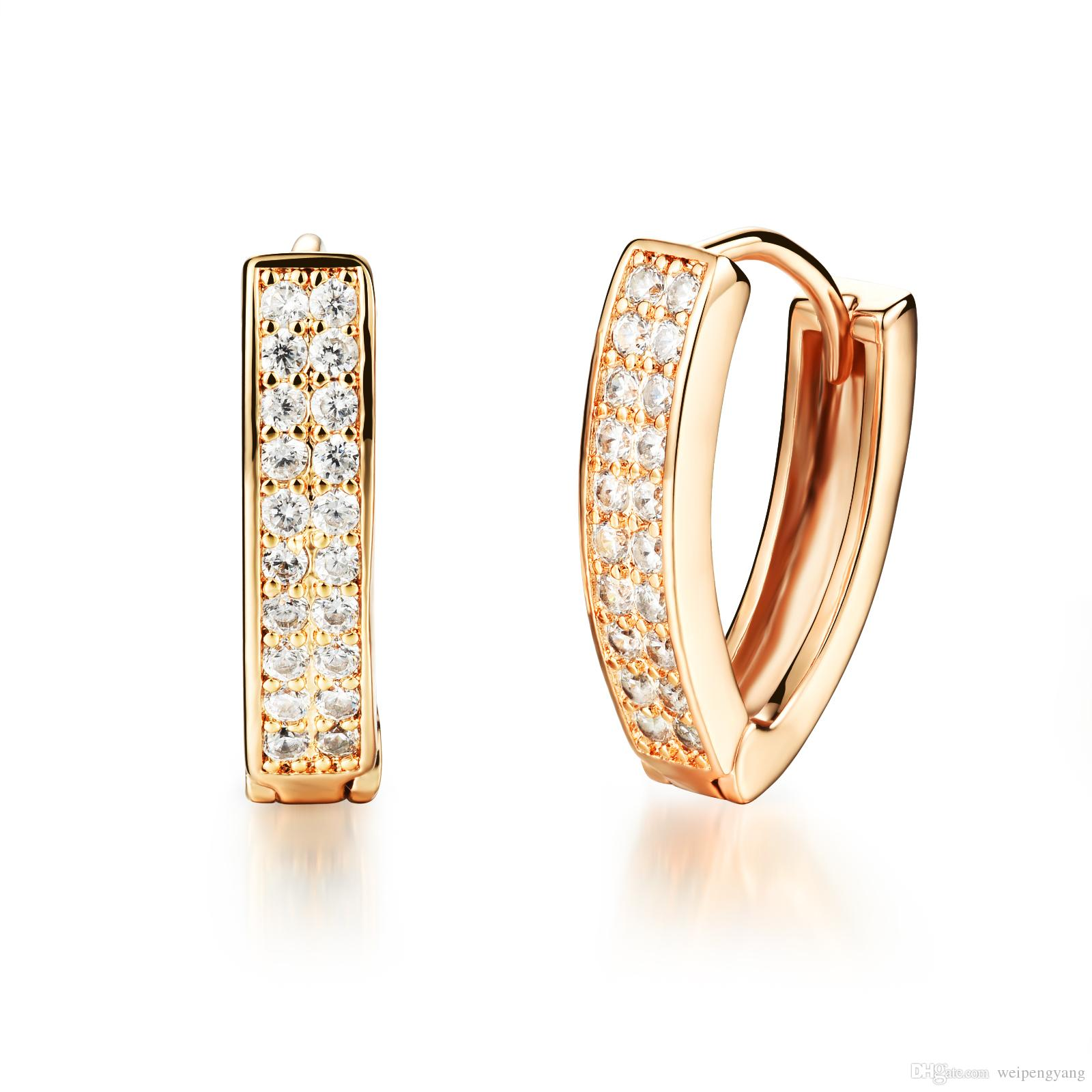 2018 Woman S Cubic Zirconia Crystal Huggie Hoop Earrings Fashion 18k