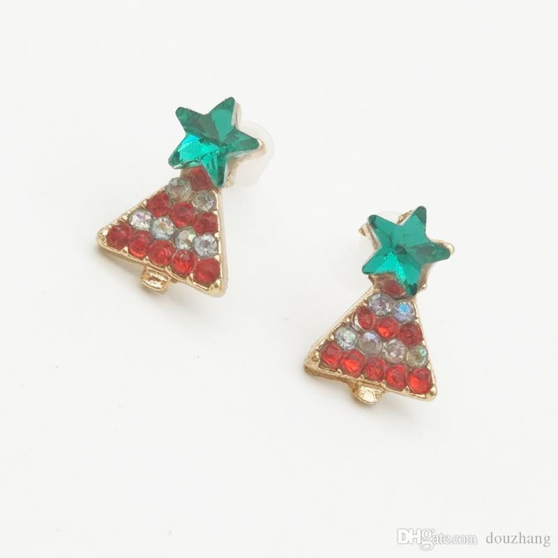 Fashion Christmas Small Cute Bow Bell Star Tree Ear Stud Earring Gift Jewelry Accessory Xmas Earrings Wholesale
