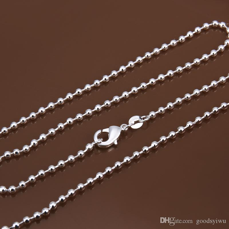 """2016 wholesale retail bulk 2MM 16""""18""""20""""22""""24"""" 925 Silver Beads Popcorn Pearl Like Chain Necklace Silver Jewelry Findings accessory C002"""
