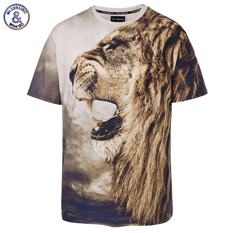 bd2f2ee6 x201710 Mr.1991INC New Stylish Lion Print T-shirt Men/Women Brand Tshirt  Fashion 3d T shirt Summer Tops Tees
