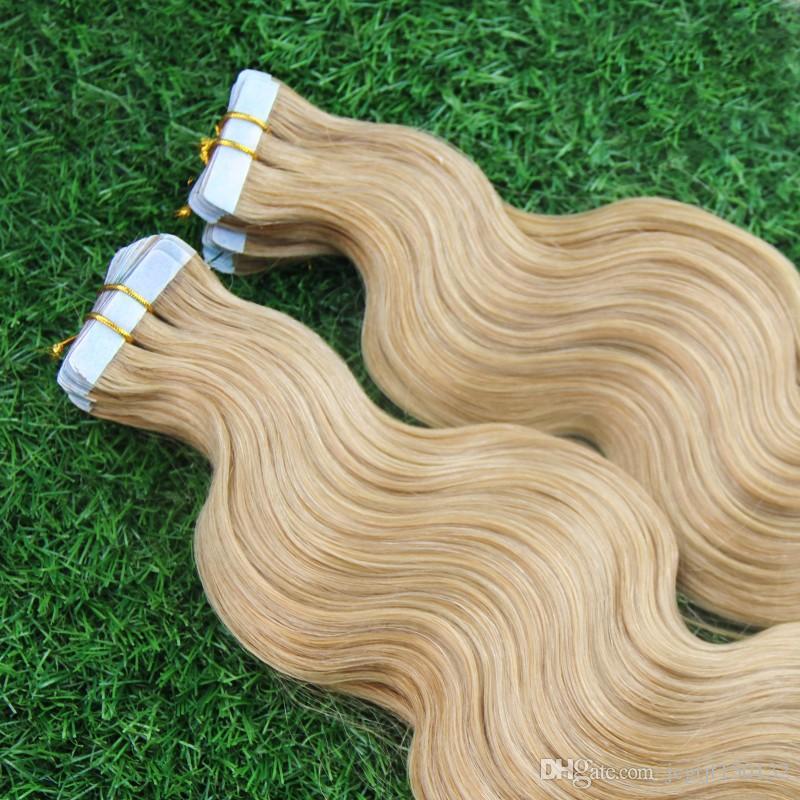 Miele Biondo Nastro Estensioni Dei Capelli Hair Remy 40 Pz / lotto Biondo Brasiliano Virgin Remy Trama Della Pelle Nastro Adesivo Estensioni Dei Capelli Prodotti 100g