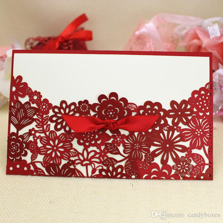 Small Red Wedding Invitations Bowknot Fitting Decoration Cards Party