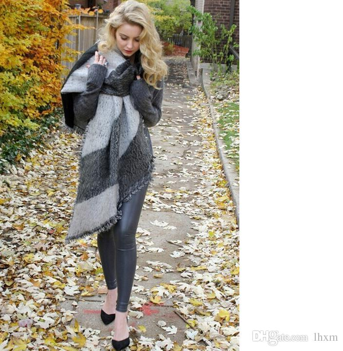 92ae1b35255 3 colors Women Winter Warm Blanket scarf Cashmere Plaid Wool Poncho scarf  Cape Pashmina & Wool Scarf Shawl LA179-1