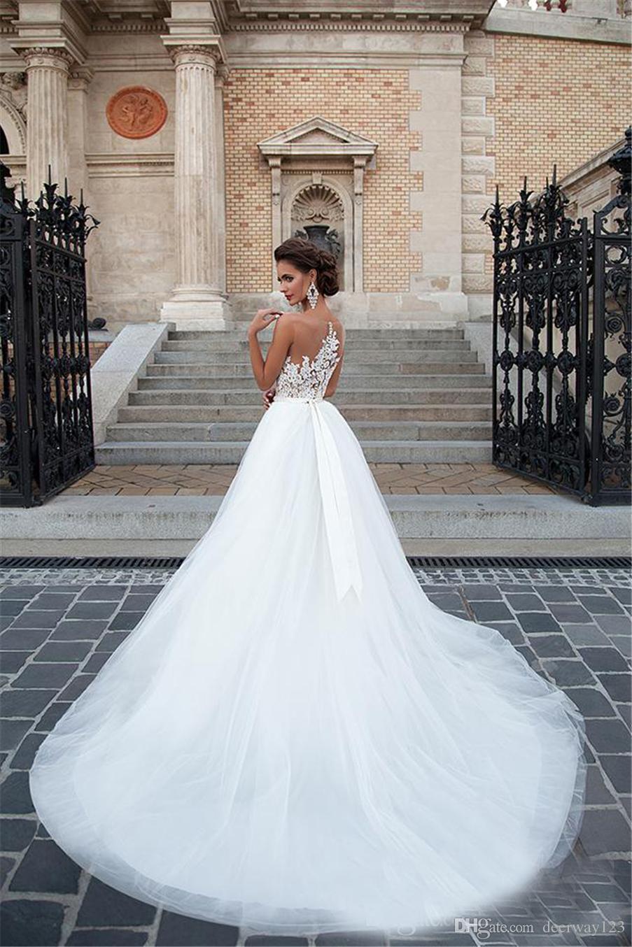 خط الرباط خمر مطرز فستان الزفاف أثواب الزفاف الجديد الرقبة فساتين الزفاف أكمام مثير سكوب