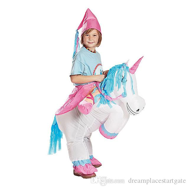 cosplay inflatable unicorn fancy dress kids adult horse riding costumes for halloween carnival dance party boys girls inflated outfit anime girl halloween