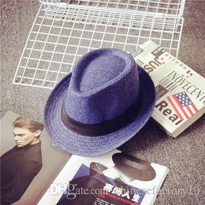Moda para niños Sombreros de paja Vogue Unisex Mujeres Hombres Hierba Trenza Sombreros Gorra Suave Fedora Panamá Cinturón Sombreros Al aire libre Stingy Brim Caps